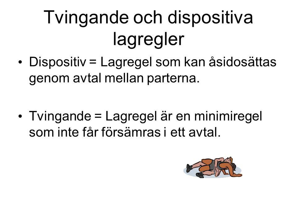Tvingande och dispositiva lagregler Dispositiv = Lagregel som kan åsidosättas genom avtal mellan parterna. Tvingande = Lagregel är en minimiregel som