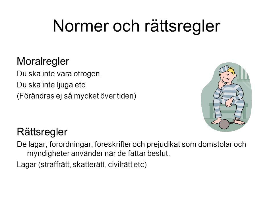 Rättskällor Grundlagarna och balkarna Regeringsformen (1974): grunderna för det svenska statsskicket tex.