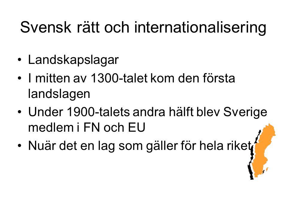 Svensk rätt och internationalisering Landskapslagar I mitten av 1300-talet kom den första landslagen Under 1900-talets andra hälft blev Sverige medlem