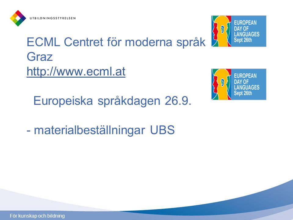 ECML Centret för moderna språk Graz http://www.ecml.at Europeiska språkdagen 26.9. - materialbeställningar UBS http://www.ecml.at
