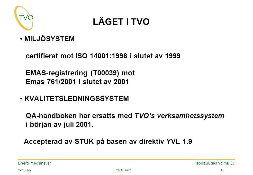Energi med ansvar O-P Luhta20.11.2014 11 Teollisuuden Voima Oy LÄGET I TVO MILJÖSYSTEM certifierat mot ISO 14001:1996 i slutet av 1999 EMAS-registrering (T00039) mot Emas 761/2001 i slutet av 2001 KVALITETSLEDNINGSSYSTEM QA-handboken har ersatts med TVO's verksamhetssystem i början av juli 2001.