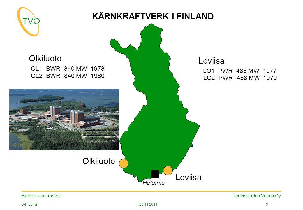 Energi med ansvar O-P Luhta20.11.2014 3 Teollisuuden Voima Oy Loviisa LO1 PWR 488 MW 1977 LO2 PWR 488 MW1979 OL1 BWR 840 MW1978 OL2 BWR 840 MW1980 Olkiluoto Loviisa Helsinki KÄRNKRAFTVERK I FINLAND Olkiluoto