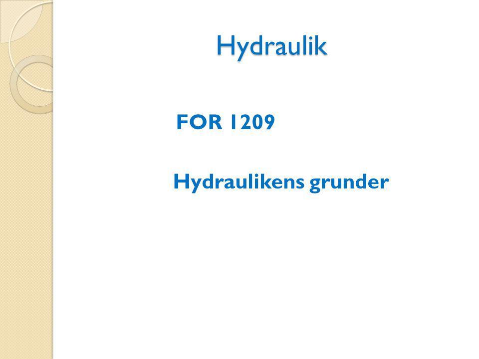 Hydraulik Hydraulik är en teknik där kraft överförs med hjälp av trycksatt vätska.