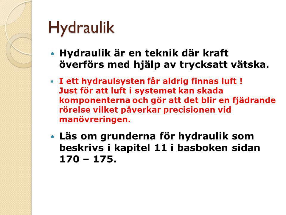 Pascals princip Hydraulikens basprinciper Vätskan har ingen egen form Vätska kan inte komprimeras Vätskan överför tryck i alla riktningar Vätskan ger ökning av arbetstrycket