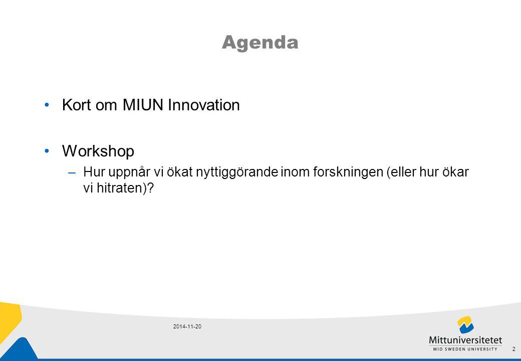 Agenda Kort om MIUN Innovation Workshop –Hur uppnår vi ökat nyttiggörande inom forskningen (eller hur ökar vi hitraten)? 2014-11-20 2
