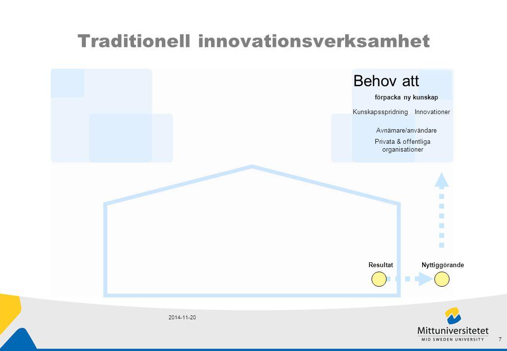 Traditionell innovationsverksamhet 2014-11-20 7 Behov att förpacka ny kunskap KunskapsspridningInnovationer Avnämare/användare Privata & offentliga or