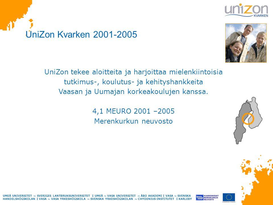 UMEÅ UNIVERSITET ~ SVERIGES LANTBRUKSUNIVERSITET I UMEÅ ~ VASA UNIVERSITET ~ ÅBO AKADEMI I VASA ~ SVENSKA HANDELSHÖGSKOLAN I VASA ~ VASA YRKESHÖGSKOLA ~ SVENSKA YRKESHÖGSKOLAN ~ CHYDENIUS-INSTITUTET I KARLEBY UniZon Kvarken 2001-2005 UniZon tekee aloitteita ja harjoittaa mielenkiintoisia tutkimus-, koulutus- ja kehityshankkeita Vaasan ja Uumajan korkeakoulujen kanssa.