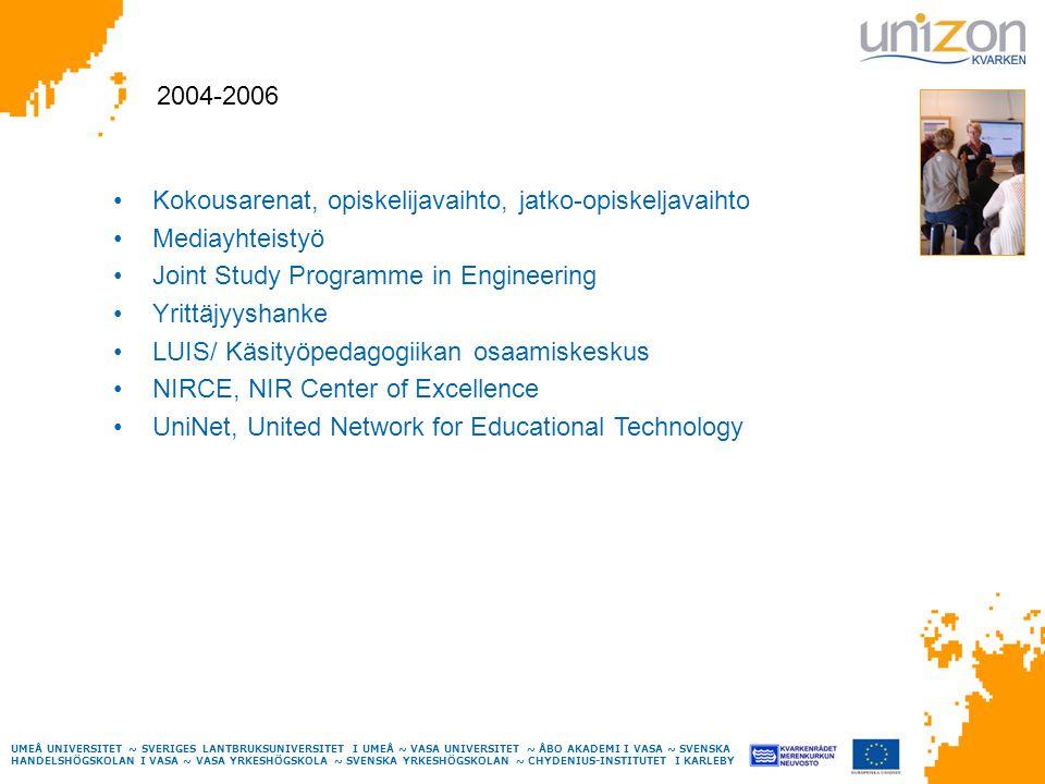 UMEÅ UNIVERSITET ~ SVERIGES LANTBRUKSUNIVERSITET I UMEÅ ~ VASA UNIVERSITET ~ ÅBO AKADEMI I VASA ~ SVENSKA HANDELSHÖGSKOLAN I VASA ~ VASA YRKESHÖGSKOLA ~ SVENSKA YRKESHÖGSKOLAN ~ CHYDENIUS-INSTITUTET I KARLEBY Kokousarenat, opiskelijavaihto, jatko-opiskeljavaihto Mediayhteistyö Joint Study Programme in Engineering Yrittäjyyshanke LUIS/ Käsityöpedagogiikan osaamiskeskus NIRCE, NIR Center of Excellence UniNet, United Network for Educational Technology 2004-2006