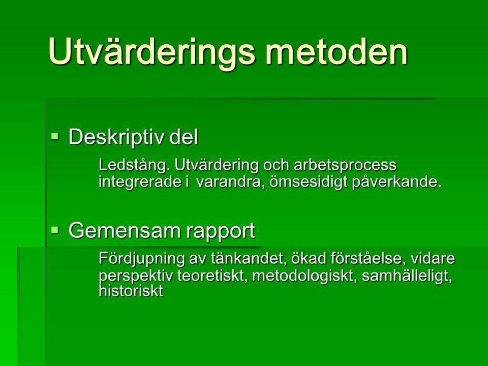 Utvärderings metoden  Deskriptiv del Ledstång.