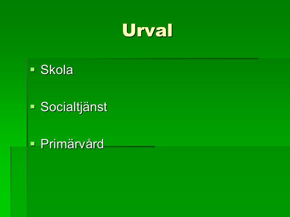 Urval  Skola  Socialtjänst  Primärvård