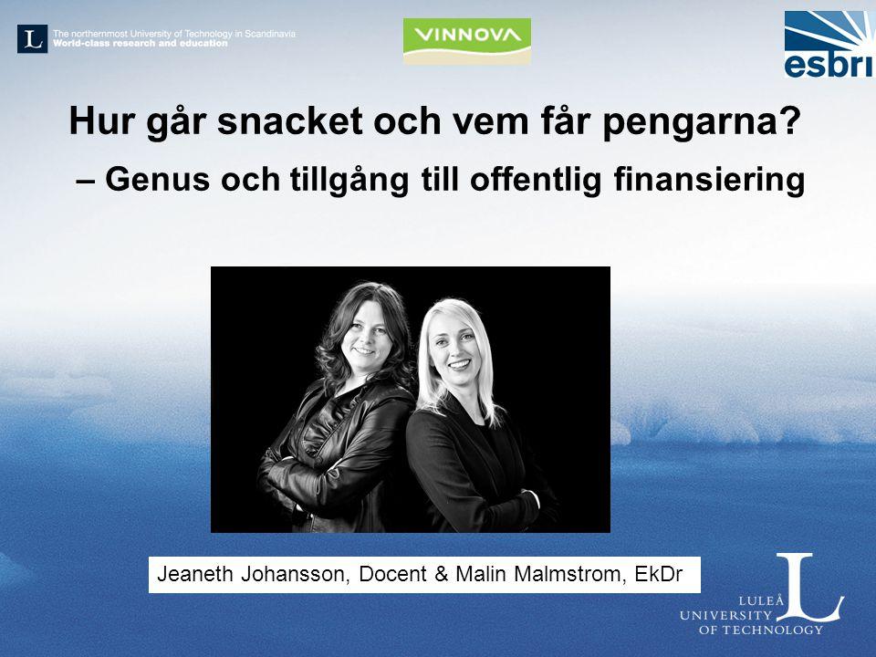 Hur går snacket och vem får pengarna? – Genus och tillgång till offentlig finansiering Jeaneth Johansson, Docent & Malin Malmstrom, EkDr