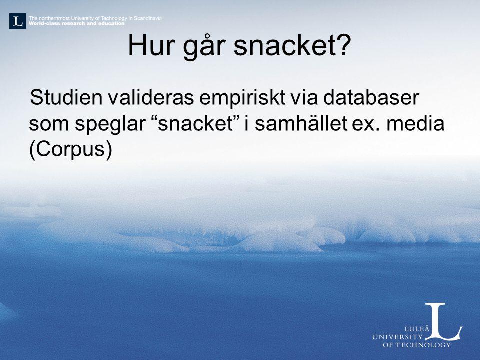 """Hur går snacket? Studien valideras empiriskt via databaser som speglar """"snacket"""" i samhället ex. media (Corpus)"""