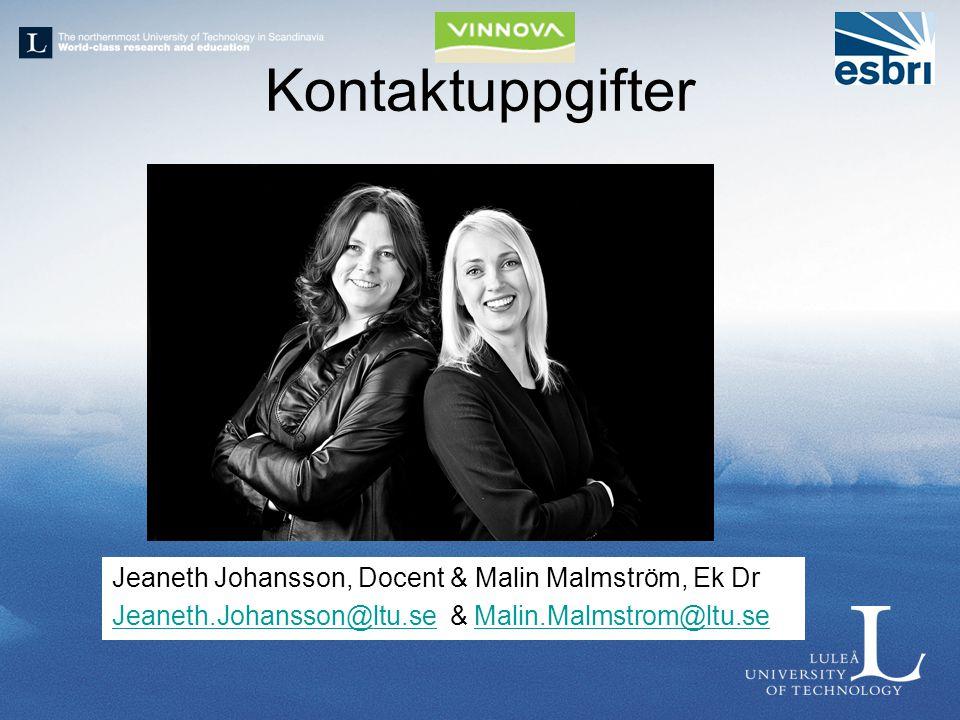 Kontaktuppgifter Jeaneth Johansson, Docent & Malin Malmström, Ek Dr Jeaneth.Johansson@ltu.seJeaneth.Johansson@ltu.se & Malin.Malmstrom@ltu.seMalin.Mal