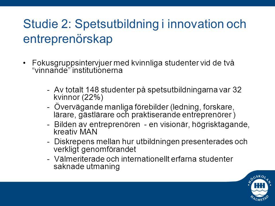 """Studie 2: Spetsutbildning i innovation och entreprenörskap Fokusgruppsintervjuer med kvinnliga studenter vid de två """"vinnande"""" institutionerna - Av to"""