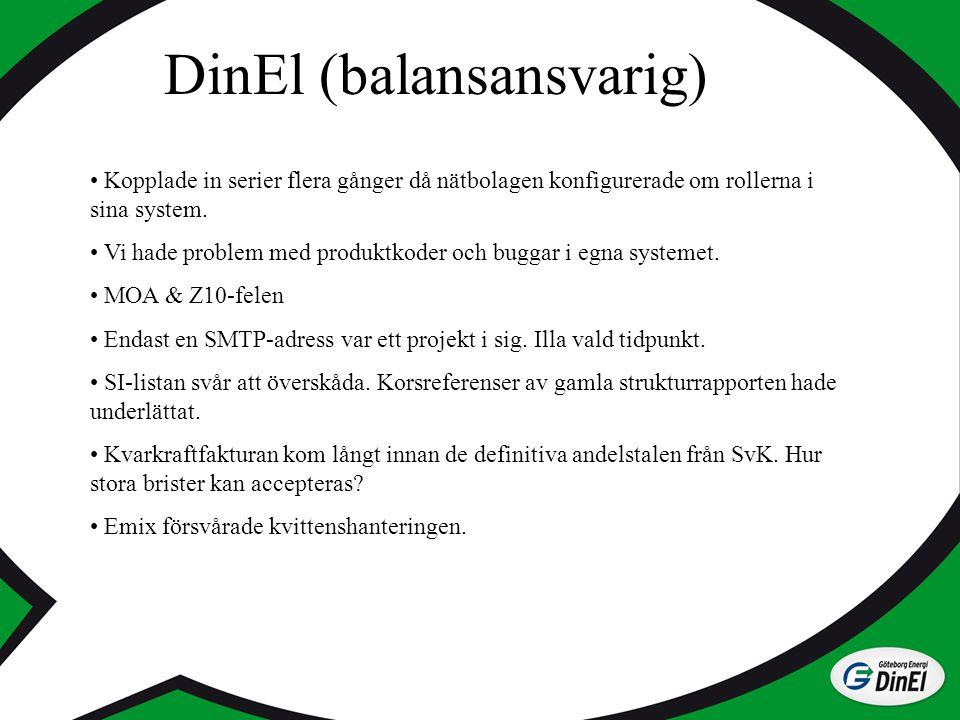 DinEl (balansansvarig) Kopplade in serier flera gånger då nätbolagen konfigurerade om rollerna i sina system. Vi hade problem med produktkoder och bug