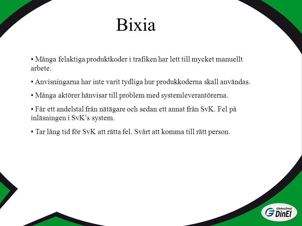 Bixia Många felaktiga produktkoder i trafiken har lett till mycket manuellt arbete. Anvisningarna har inte varit tydliga hur produkkoderna skall använ