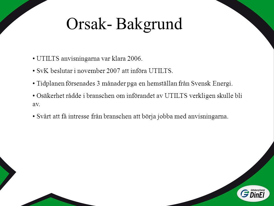 Orsak- Bakgrund UTILTS anvisningarna var klara 2006. SvK beslutar i november 2007 att införa UTILTS. Tidplanen försenades 3 månader pga en hemställan