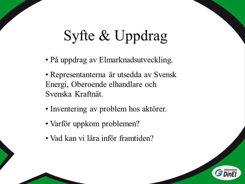 Syfte & Uppdrag På uppdrag av Elmarknadsutveckling. Representanterna är utsedda av Svensk Energi, Oberoende elhandlare och Svenska Kraftnät. Inventeri
