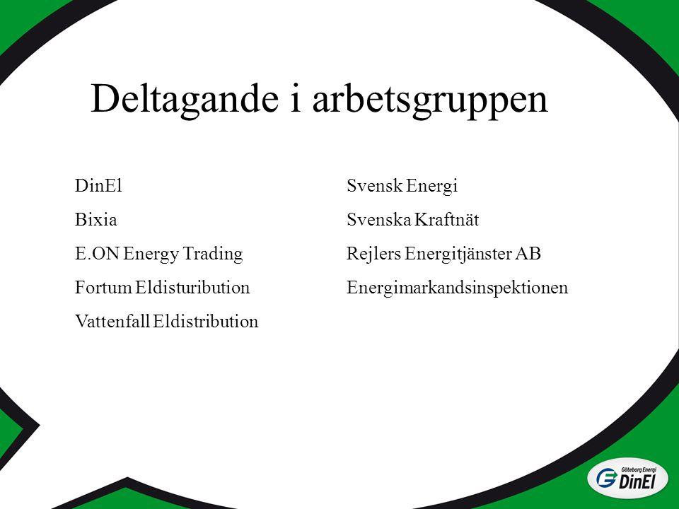 Deltagande i arbetsgruppen DinElSvensk Energi BixiaSvenska Kraftnät E.ON Energy TradingRejlers Energitjänster AB Fortum EldistuributionEnergimarkandsi