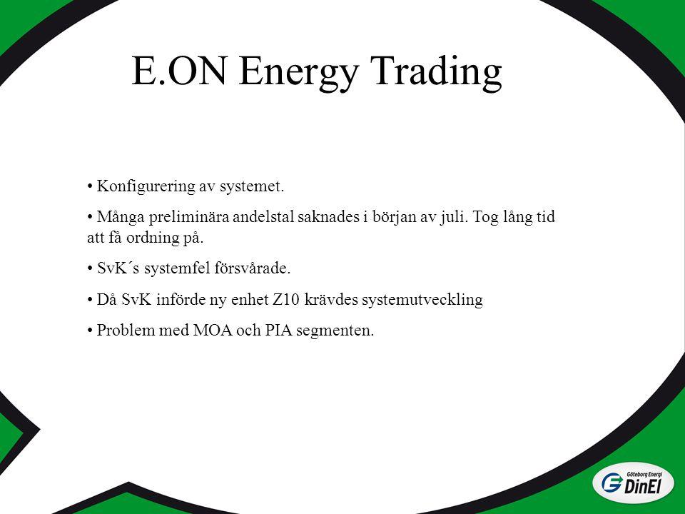 E.ON Energy Trading Konfigurering av systemet. Många preliminära andelstal saknades i början av juli. Tog lång tid att få ordning på. SvK´s systemfel