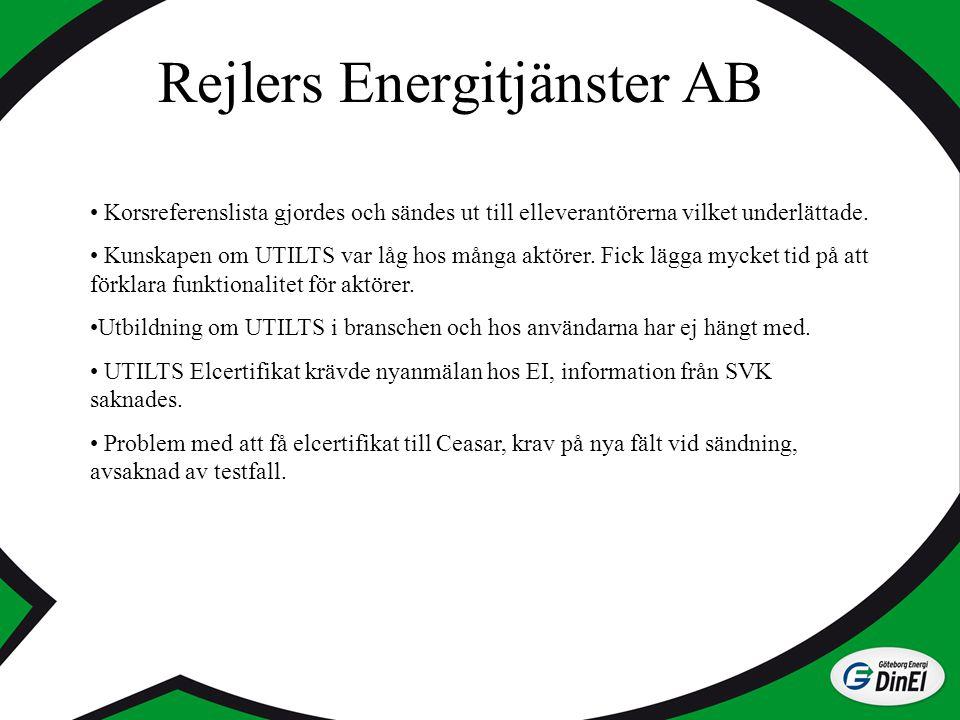 Rejlers Energitjänster AB Korsreferenslista gjordes och sändes ut till elleverantörerna vilket underlättade. Kunskapen om UTILTS var låg hos många akt