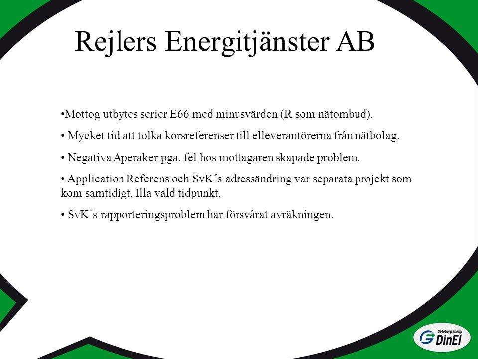 Rejlers Energitjänster AB Mottog utbytes serier E66 med minusvärden (R som nätombud). Mycket tid att tolka korsreferenser till elleverantörerna från n