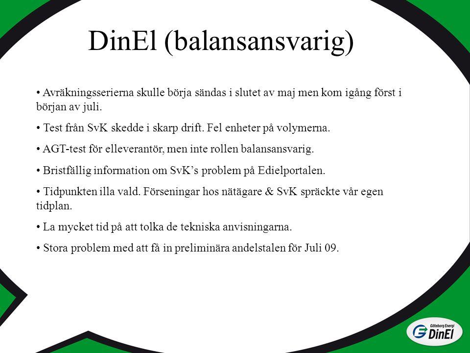 DinEl (balansansvarig) Avräkningsserierna skulle börja sändas i slutet av maj men kom igång först i början av juli. Test från SvK skedde i skarp drift