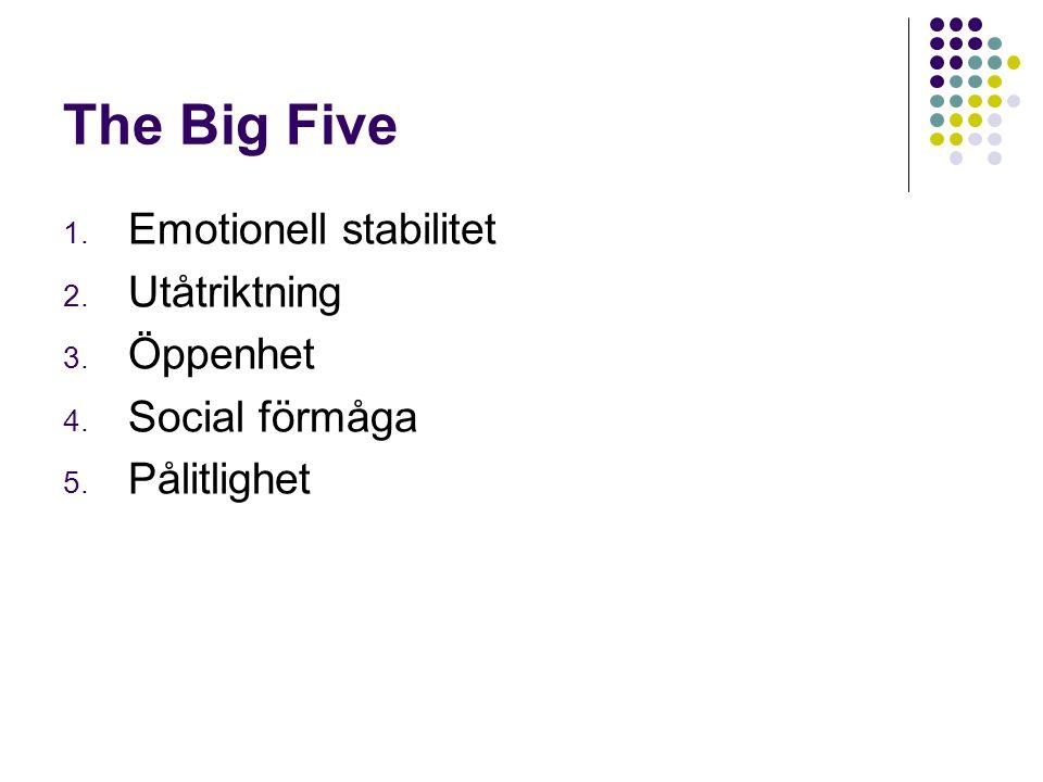 The Big Five 1. Emotionell stabilitet 2. Utåtriktning 3. Öppenhet 4. Social förmåga 5. Pålitlighet