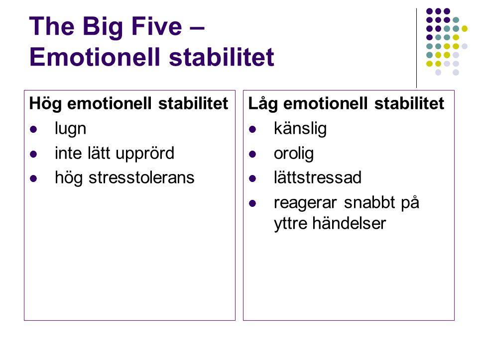 The Big Five – Emotionell stabilitet Hög emotionell stabilitet lugn inte lätt upprörd hög stresstolerans Låg emotionell stabilitet känslig orolig lätt