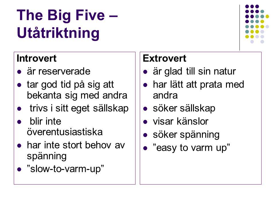 The Big Five – Utåtriktning Introvert är reserverade tar god tid på sig att bekanta sig med andra trivs i sitt eget sällskap blir inte överentusiastis
