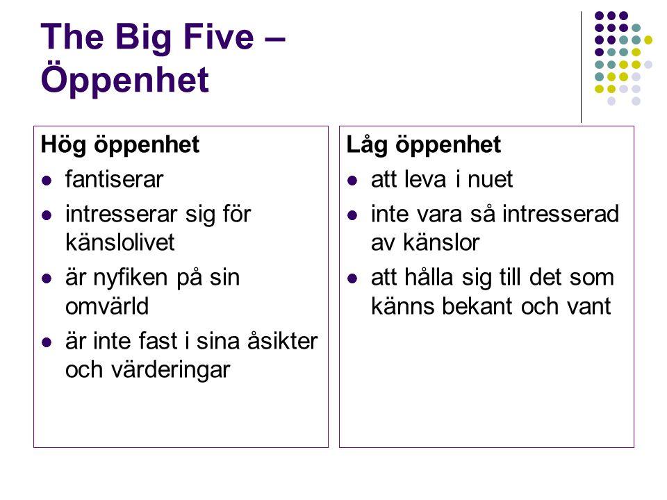 The Big Five – Öppenhet Hög öppenhet fantiserar intresserar sig för känslolivet är nyfiken på sin omvärld är inte fast i sina åsikter och värderingar