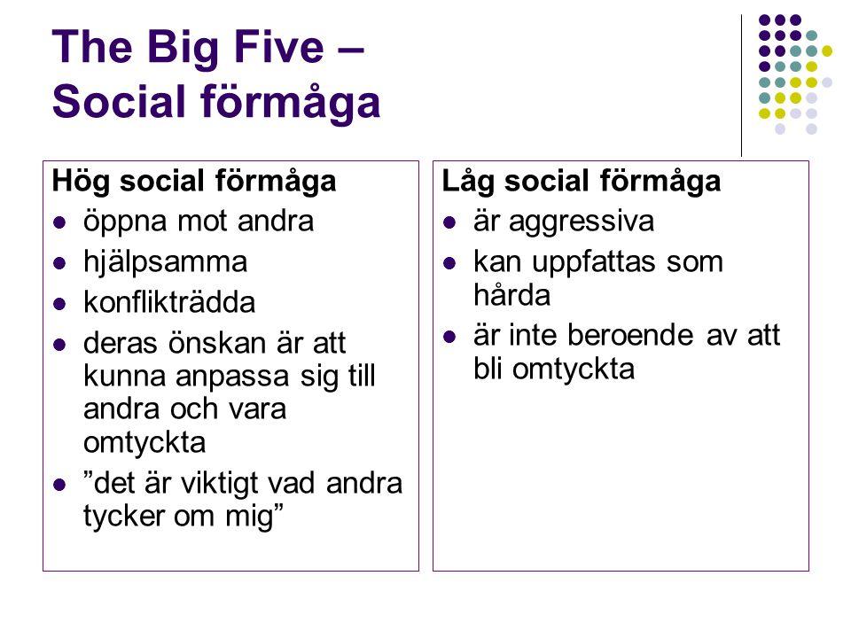 The Big Five – Social förmåga Hög social förmåga öppna mot andra hjälpsamma konflikträdda deras önskan är att kunna anpassa sig till andra och vara om
