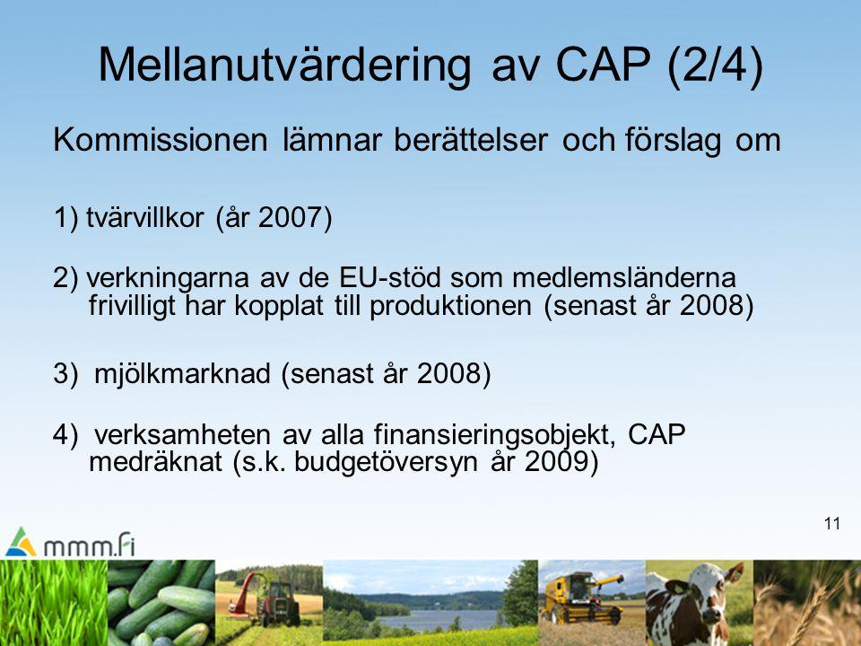 11 Mellanutvärdering av CAP (2/4) Kommissionen lämnar berättelser och förslag om 1) tvärvillkor (år 2007) 2) verkningarna av de EU-stöd som medlemsländerna frivilligt har kopplat till produktionen (senast år 2008) 3) mjölkmarknad (senast år 2008) 4) verksamheten av alla finansieringsobjekt, CAP medräknat (s.k.