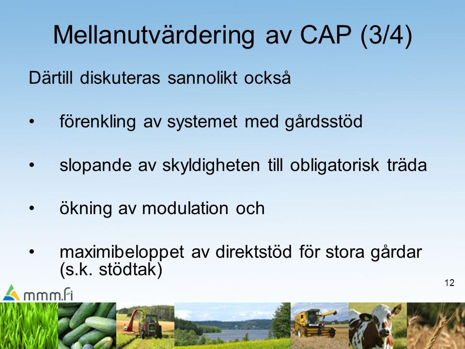 12 Mellanutvärdering av CAP (3/4) Därtill diskuteras sannolikt också förenkling av systemet med gårdsstöd slopande av skyldigheten till obligatorisk träda ökning av modulation och maximibeloppet av direktstöd för stora gårdar (s.k.