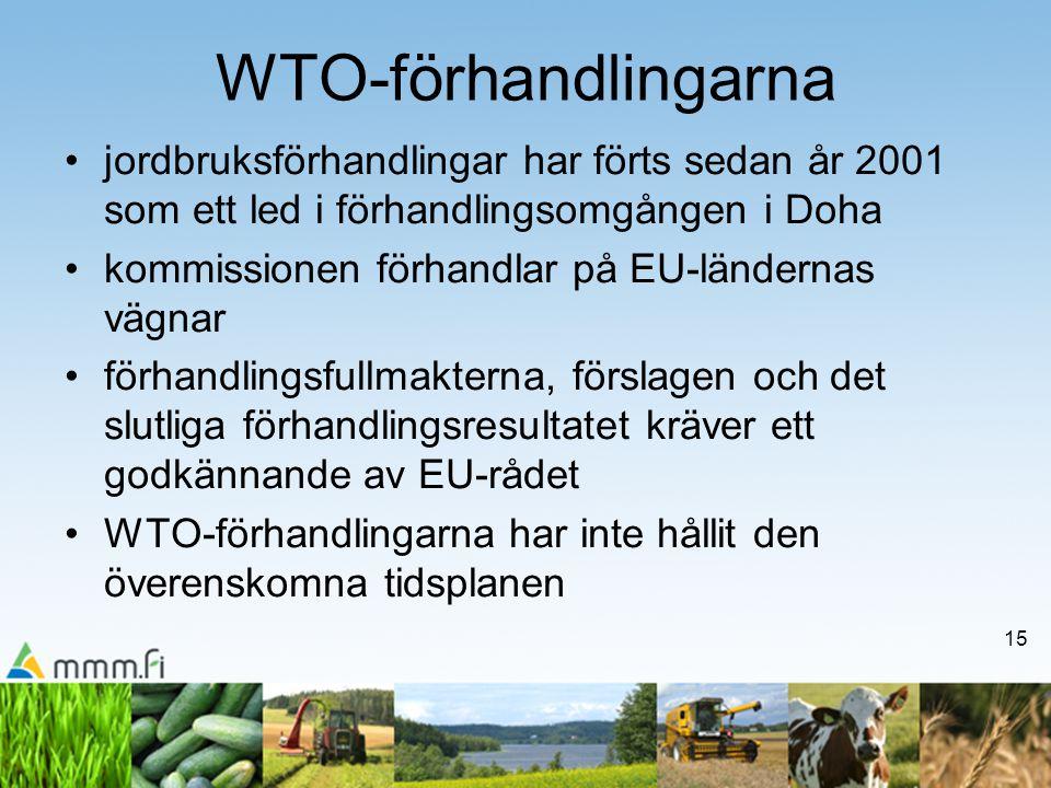 15 WTO-förhandlingarna jordbruksförhandlingar har förts sedan år 2001 som ett led i förhandlingsomgången i Doha kommissionen förhandlar på EU-ländernas vägnar förhandlingsfullmakterna, förslagen och det slutliga förhandlingsresultatet kräver ett godkännande av EU-rådet WTO-förhandlingarna har inte hållit den överenskomna tidsplanen