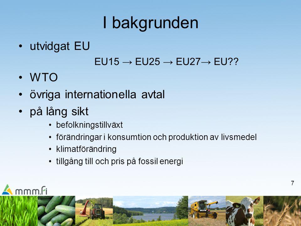 7 I bakgrunden utvidgat EU EU15 → EU25 → EU27→ EU .