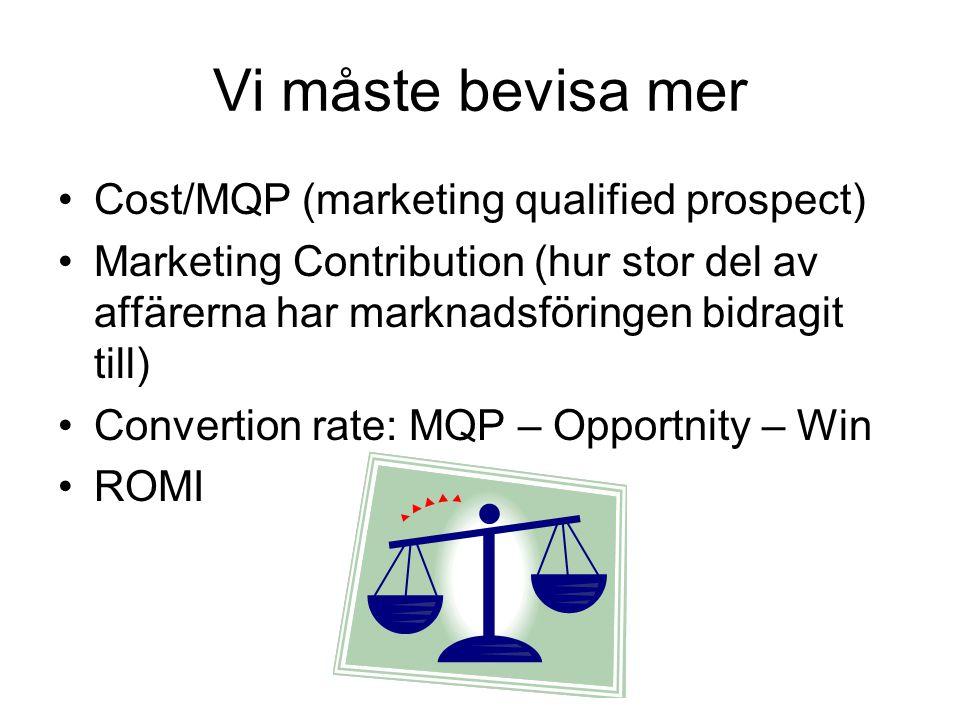 Vi måste bevisa mer Cost/MQP (marketing qualified prospect) Marketing Contribution (hur stor del av affärerna har marknadsföringen bidragit till) Conv
