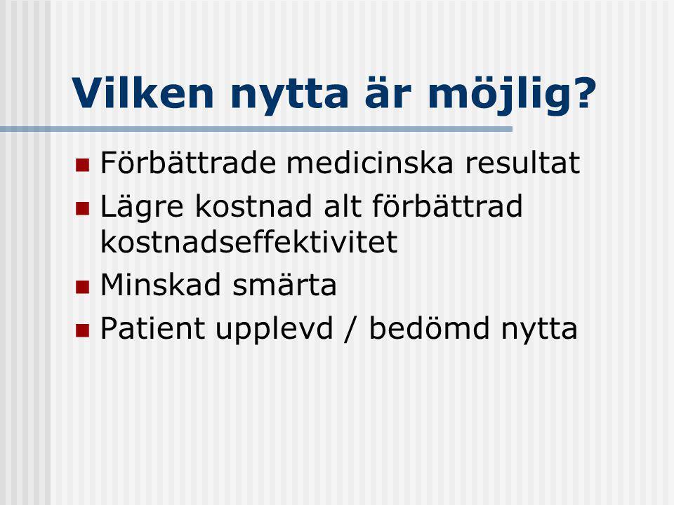 Vilken nytta är möjlig? Förbättrade medicinska resultat Lägre kostnad alt förbättrad kostnadseffektivitet Minskad smärta Patient upplevd / bedömd nytt