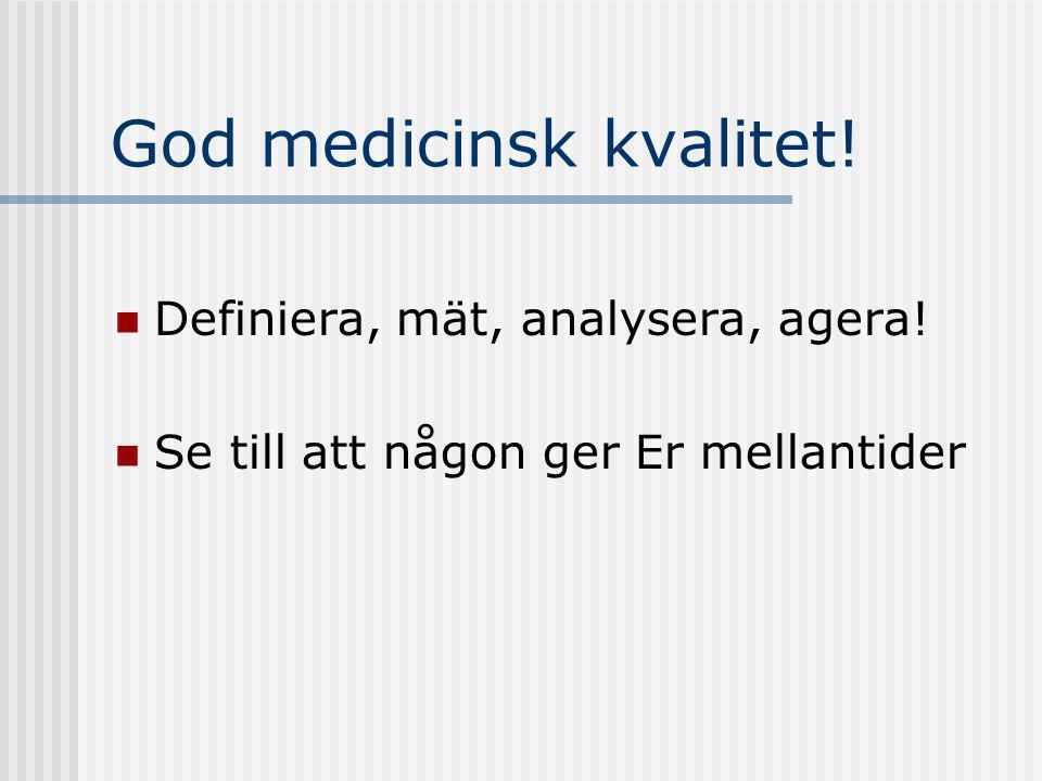 God medicinsk kvalitet! Definiera, mät, analysera, agera! Se till att någon ger Er mellantider