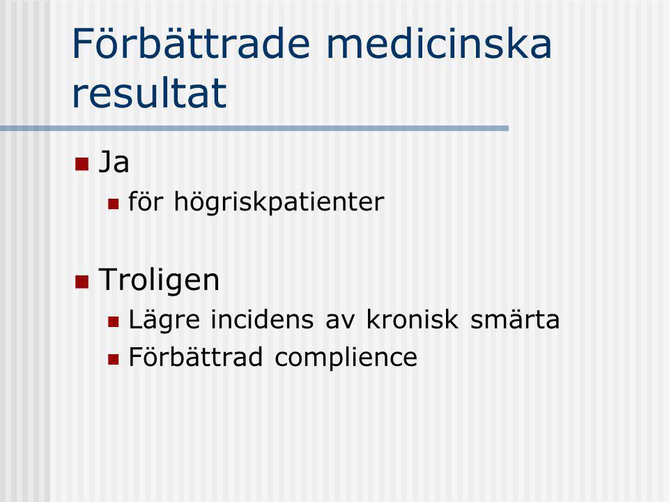 Förbättrade medicinska resultat Ja för högriskpatienter Troligen Lägre incidens av kronisk smärta Förbättrad complience