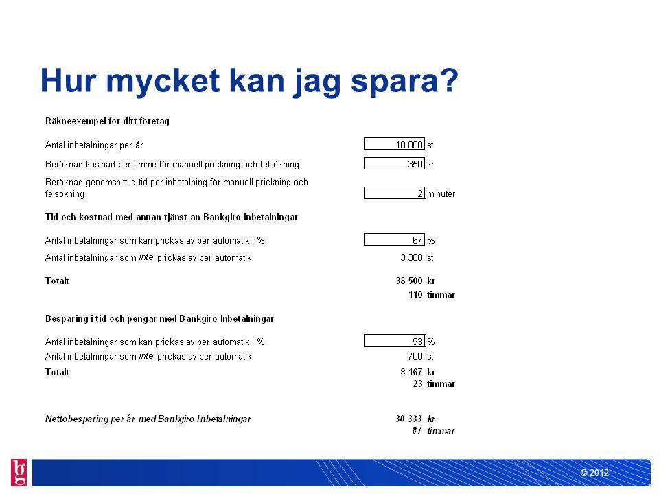© 2012 Hur mycket kan jag spara?