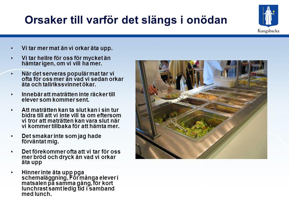 Hur mycket slänger vi i Sverige Medelvärden för tallrikssvinn från olika skolor varierar mellan ca 20 och 50 gram per portion.