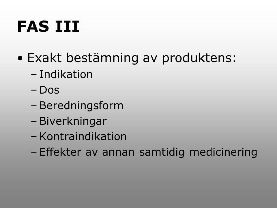 FAS III Exakt bestämning av produktens: –Indikation –Dos –Beredningsform –Biverkningar –Kontraindikation –Effekter av annan samtidig medicinering