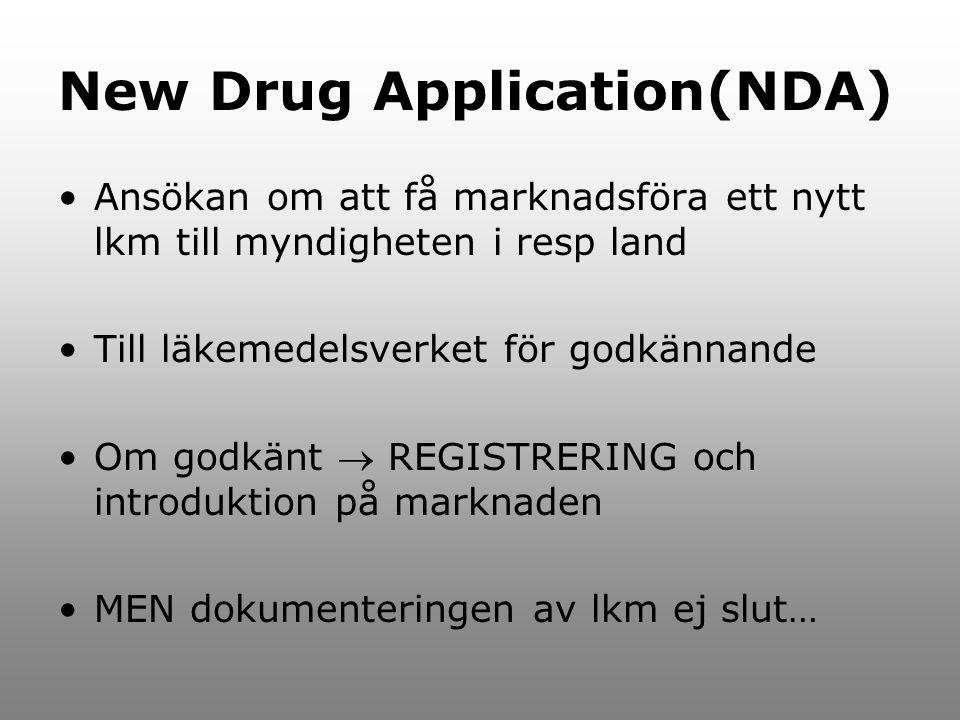 New Drug Application(NDA) Ansökan om att få marknadsföra ett nytt lkm till myndigheten i resp land Till läkemedelsverket för godkännande Om godkänt 