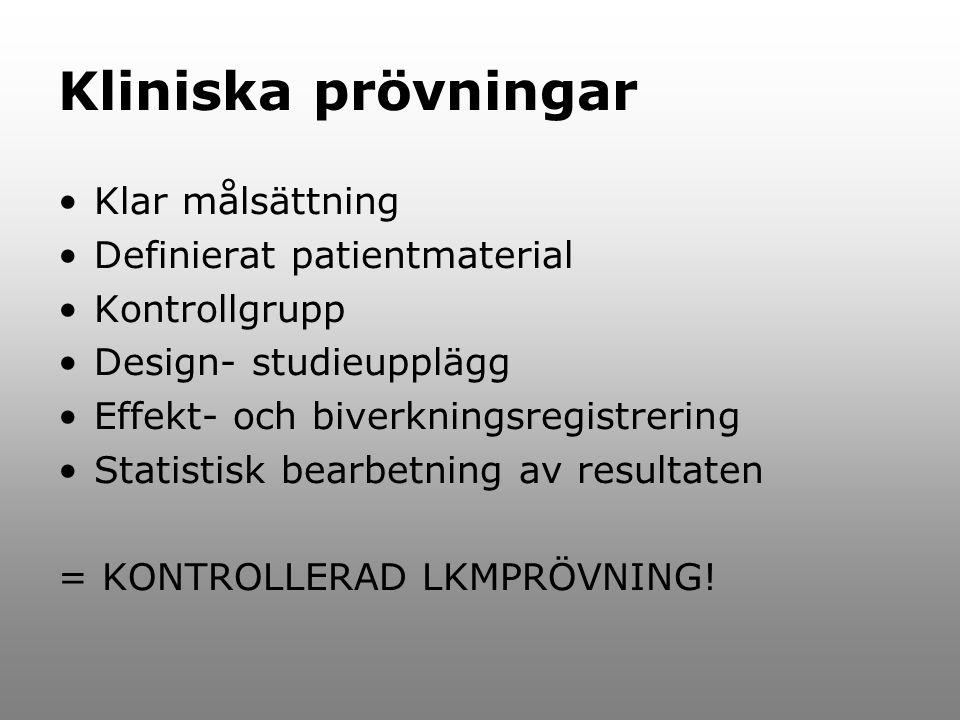 Kliniska prövningar Klar målsättning Definierat patientmaterial Kontrollgrupp Design- studieupplägg Effekt- och biverkningsregistrering Statistisk bearbetning av resultaten = KONTROLLERAD LKMPRÖVNING!