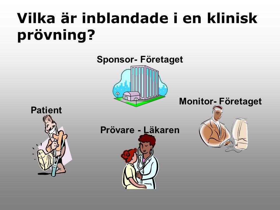 Vilka är inblandade i en klinisk prövning? Sponsor- Företaget Monitor- Företaget Prövare - Läkaren Patient