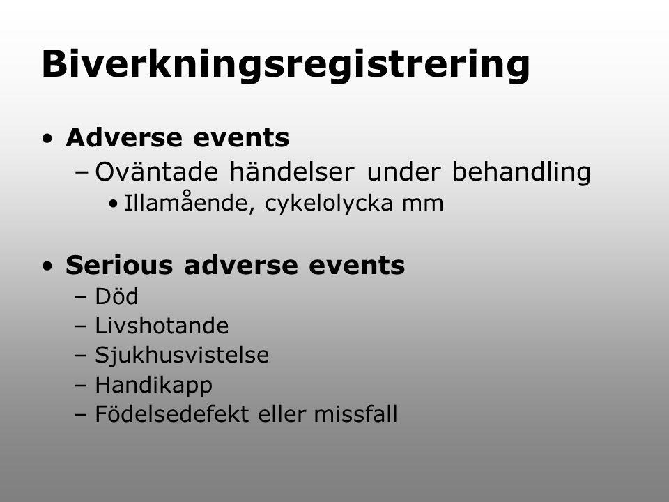 Biverkningsregistrering Adverse events –Oväntade händelser under behandling Illamående, cykelolycka mm Serious adverse events –Död –Livshotande –Sjukh