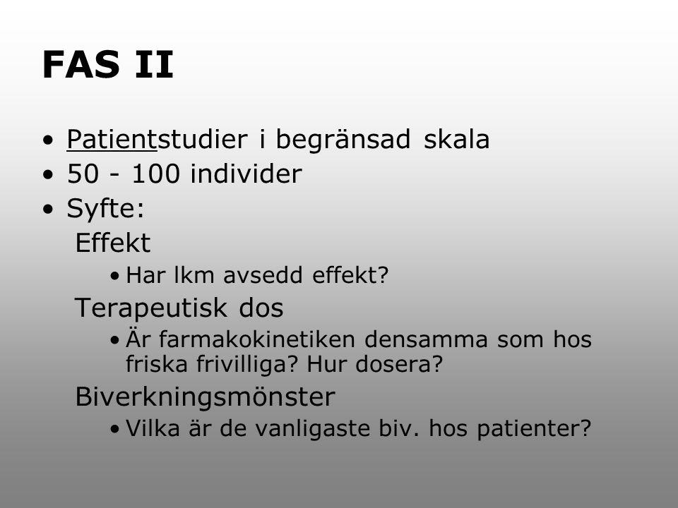FAS II Patientstudier i begränsad skala 50 - 100 individer Syfte: Effekt Har lkm avsedd effekt? Terapeutisk dos Är farmakokinetiken densamma som hos f