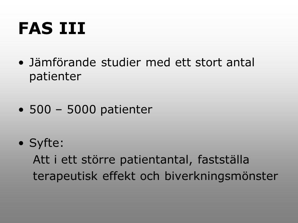 FAS III Jämförande studier med ett stort antal patienter 500 – 5000 patienter Syfte: Att i ett större patientantal, fastställa terapeutisk effekt och