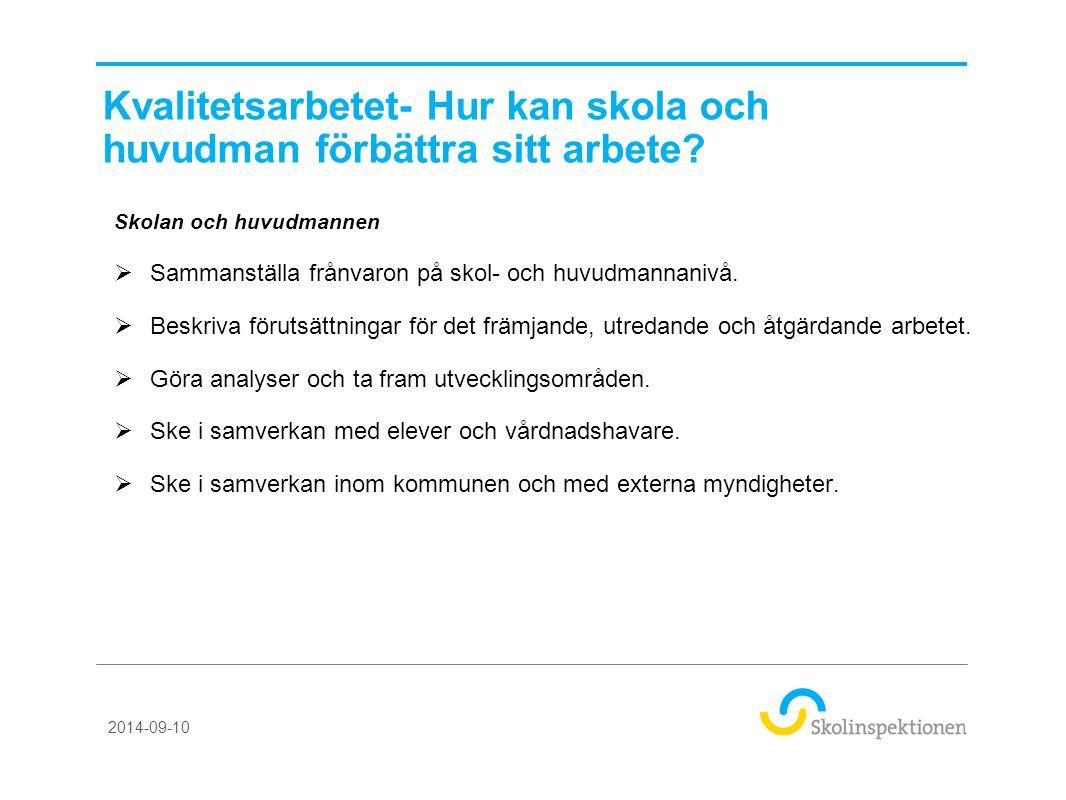Kvalitetsarbetet- Hur kan skola och huvudman förbättra sitt arbete? Skolan och huvudmannen  Sammanställa frånvaron på skol- och huvudmannanivå.  Bes